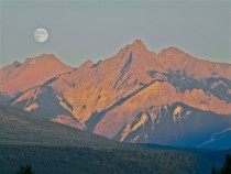 Moonrise over the Rocky Mountians