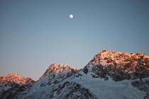 Moonrise over the Southern Alps New Zealand