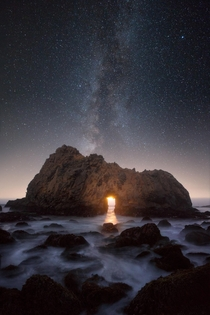 Moonset through Keyhole Rock in California