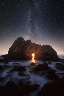 MoonsetMilky Way through Keyhole Arch in Big Sur