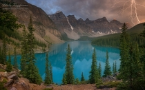 Moraine Lake and Valley of the Ten Peaks before a rainstorm Alberta Canada by Mike Reifman