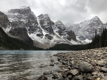 Moraine Lake as a snowstorm blows in from the south