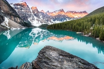 Moraine Lake during sunrise Alberta Canada