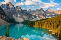 Moraine Sunrise Reflection at Moraine Lake Canada by Dezzouk