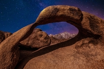 Morbius Arch Alabama Hills CA Drove  Hours and hiked mountains in the darkness to get this shot OC