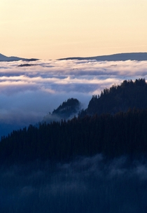 Morning cloud inversion in the Cascade Mountains Washington State