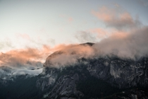 Morning clouds unveiling The Chief  Squamish BC  OC   NateDeBoerPhotography