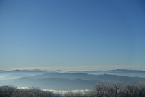 Morning fog over the Smokey Mountains NC