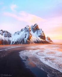 Morning Glow  - Beautiful sunrise by Vestrahorn Southeast Iceland  - Instagram hrdur