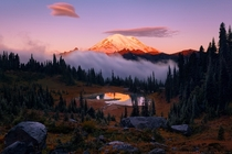Morning glow on the beautiful Mt Rainier just after fog clears above Tipsoo Lake Washington State