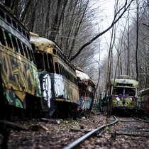Morning hike to a Trolley Graveyard near Johnstown PA
