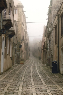 Morning Mist - Entering the Ancient Sicilian town of Erice   x