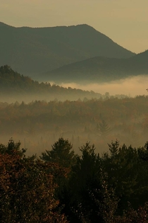 Morning mist in the Adirondacks near Lake Placid NY