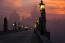 Morning on the Charles Bridge in Prague  photo by Markus Grunau xpost rbridgeporn