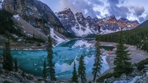 Morning reflection at Moraine Lake in Alberta