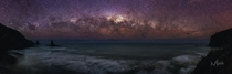 Morning stars One last panorama before dawn from the top of the cliff overlooking Anawhata Beach Auckland New Zealand  By Mikey Mack