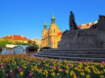 Morning sun on St Nicholas Church Prague