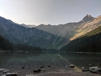 Morning sunbeams over Avalanche Lake Glacier NP