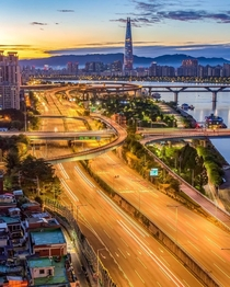 Morning traffic around the Han River Seoul South Korea