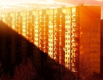 Moscow dormitory area during sunset time