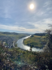 MoselMoselle Valley lined with vineyards Nittel Germany at L Luxembourg opposite