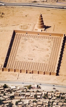 Mosquee of Samarra Iraq probably inspired the modern representation of the Tower of Babel constructed by the Abbasid ruler Jafar Al-Mutawakkil between  and