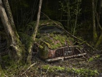 Moss-covered car in the woods France shot by Peter Lippmann