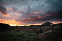 Most breathtaking sunset in Horseshoe Canyon Drumheller Alberta