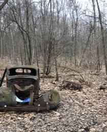 Most likely a s vehicle abandoned in the preserved natural lands of Ithaca NY