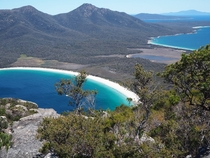 Mount Amos Summit overlooking Wineglass Bay Tasmania