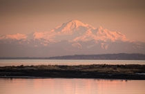 Mount Baker seen from Boundary Bay Delta British Columbia