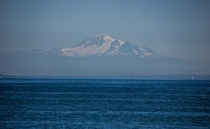 Mount Baker seen from the Pacific Ocean on a clear summer day off the Washington coast