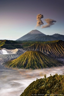Mount Bromo Gunung Bromoin Bahasa Indonesia is an active volcano and part of the Tengger massif in East Java Indonesia At  metres  ft it is not the highest peak of the massif but is the most well known says Joel Santos Every hour or so a giant ash eruptio