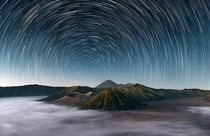Mount Bromo under a spinning starscape - Indonesia  by Elia Locardi