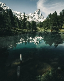 Mount Cervino reflected on Blue Lake Italy AO