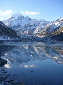 Mount Cook and Hooker Glacier New Zealand