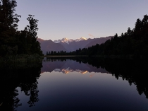 Mount Cook from the Reflection Island viewpoint at Lake Matheson New Zealand