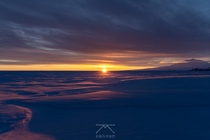 Mount Erebus in Antarctica with the last sunset of  before heading into winter
