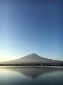 Mount Fuji Japan from Lake Kawaguchi at sunrise on a clear morning a week ago