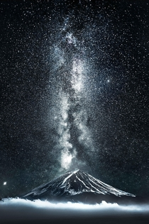 Mount Fuji with an eruption of stars
