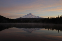 Mount Hood at Sunrise Reflected In Trillium Lakes Waters