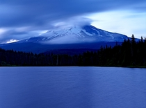 Mount Hood from a nearby lake at twilight Oregon