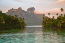 Mount Otemanu Bora Bora Leeward Islands of French Polynesia Opposite of sunset OC
