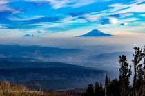 Mount Rainier amp Mount Saint Helens in the smoky haze seen from Cloud Cap Trailhead Mount Hood Oregon