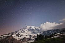 Mount Rainier at  am