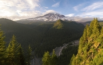 Mount Rainier on the brink of golden hour