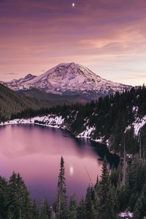 Mount Rainier sunset Clearwater Wilderness WA