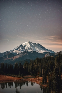 Mount Rainier under a starry sky  Photographed by Bryan Buchanan