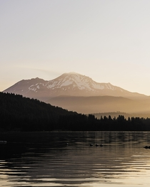 Mount Shasta at Lake Siskiyou CA at Sunrise