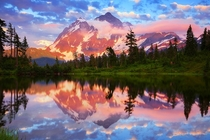 Mount Shuksan from Picture Lake in Washington -taken by Michael Rickard